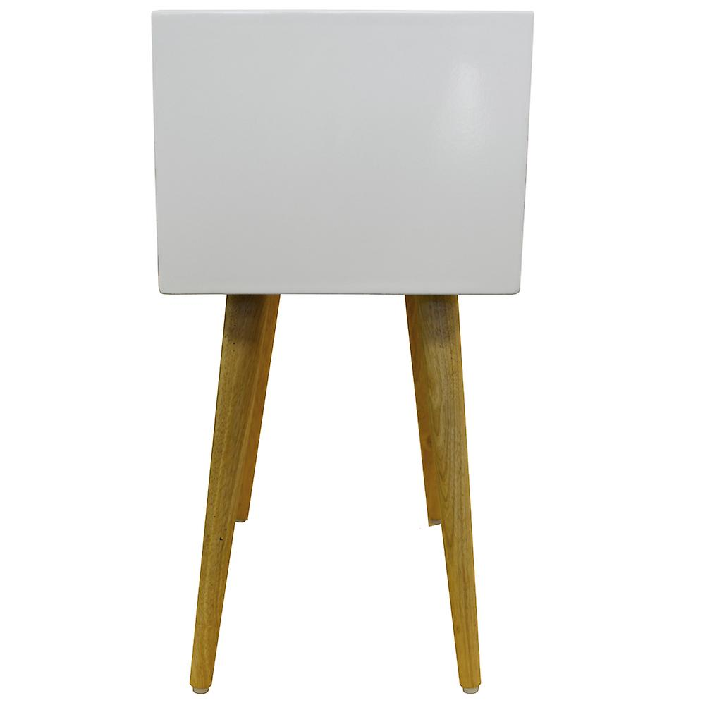 Union - High Gloss And Solid Wood Side Table / Bedside Table With 2 Drawers - White / Pine