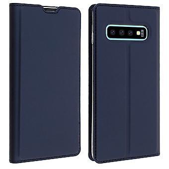 Slim Flip plån bok fall, Business-serien för Samsung Galaxy S10 plus-mörkblå
