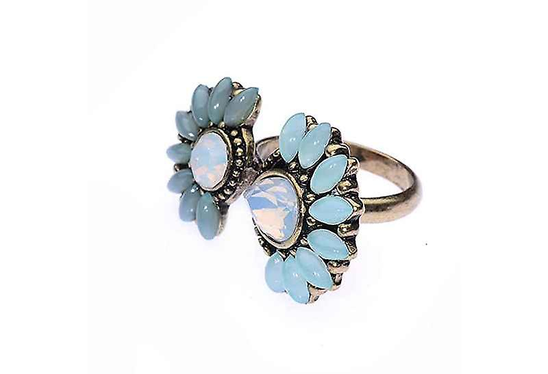 Faux Opal Mint Lucky Blossom Ring