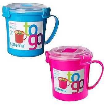 Sistema Set of 2 Soup Mugs, Blue and Pink