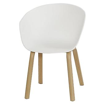 Fusion Living Eiffel Inspired White Plastic Armchair With Light Wood Legs