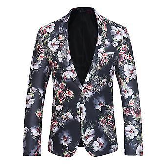 YANGFAN Mens bedrukt pak jas 1 knop florale patroon blazer