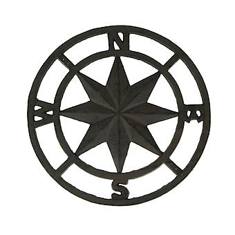 Brown Cast Iron Nautical Compass Rose Indoor/Outdoor Wall Hanging