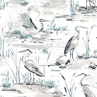 Cranes Reeds Floral Wallpaper Purple Pink Red Blue Yellow Watercolour Paste Wall