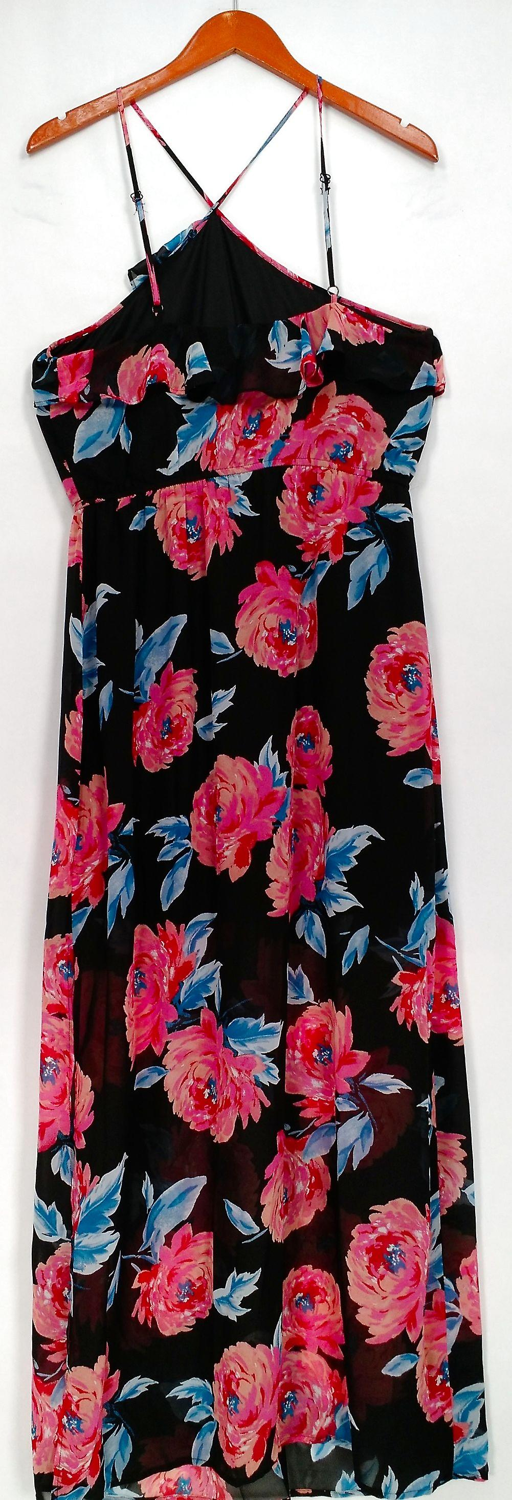 Want & Need Dress Floral Printed Ruffled Maxi w/ Deep Side Slits Black
