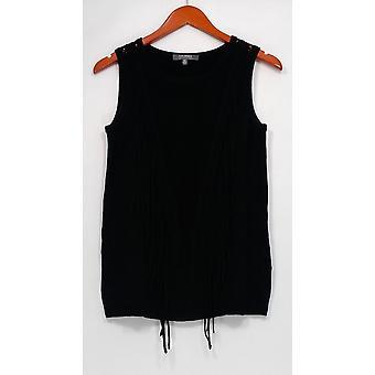 Lisa Rinna coleção camisola Sweater malha Tank w/Fringe preto A277314