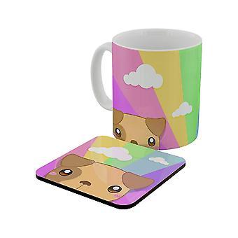 Inquisitive Creatures Kawaii Puppy Rainbow Mug & Coaster Set