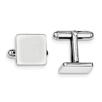 925 Sterling Silver Solid Polished Engravable Square Cuff Links Jewelry Gifts for Men - 10.7 Grams