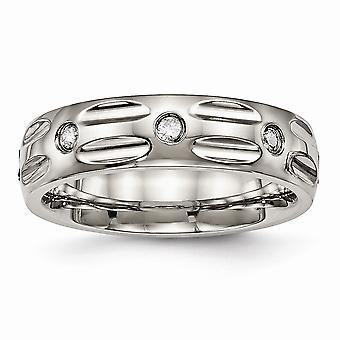 6mm Titanium poleret rillede Cubic Zirconia Ring - ringstørrelse: 6-13