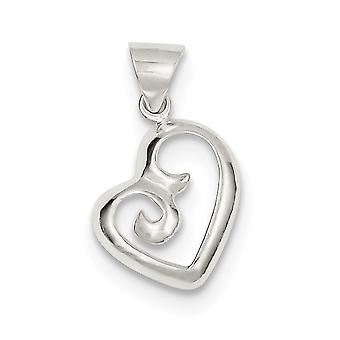 925 Sterling Silver Open Solid Rounded Edge Polished Fancy Swirl Heart Pendant - 1.0 Grams