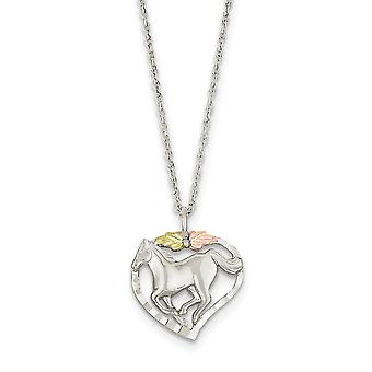 925 Sterling Silver Spring Ring Polished and satin and 12k Horse In Love Heart Necklace 18 Inch Jewelry Gifts for Women