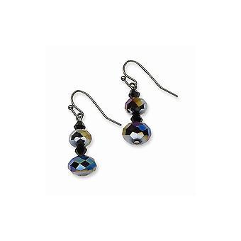 Shepherd hook Black Plating Black plated Aurora Borealis Black Crystal Beaded Long Drop Dangle Earrings Jewelry Gifts fo