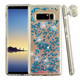 Diamante Frame (Transparent Clear)/Quicksand (Dark Blue Hearts) Glitter Hybrid Protector Cover pour Galaxy Note 8
