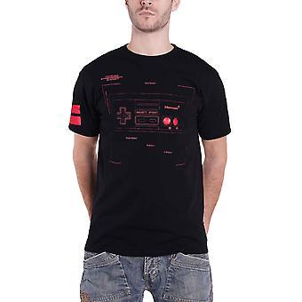 NES T Shirt Controller Blueprint Logo new Official Gamer Mens Black