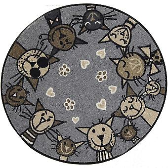 Salonloewe doormat Circle Cat city chic x 85 cm round carpet with cats