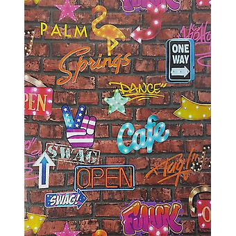 P+S Neon Signs Brown Brick Wallpaper Graffiti Stone Slate Typography Bar Kids