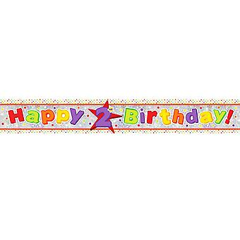 Amscan Happy 2nd Birthday Holographic Foil Banner