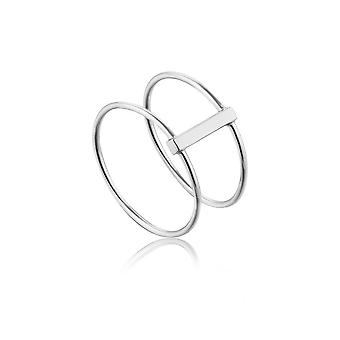 Ania Haie Sterling Silver Rhodium Plated Modern Double Ring R002-05H