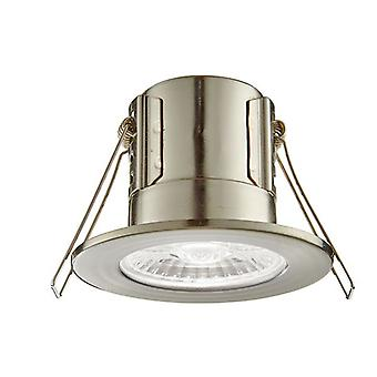 Saxby Lighting Shieldeco Fire Rated Integrated LED Bathroom Recessed Light Satin Nickel Plate, Acrylic IP65 73788