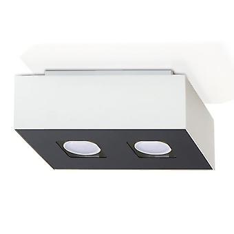 Sollux MONO 2 Light Flush Ceiling Light White & Black SL.0067
