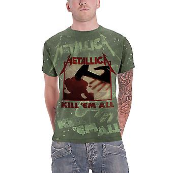T Shirt Kill Em All de Metallica nouveau toute l'impression verte officielle de Mens