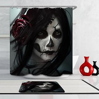 Powerful Skull Make Up Portrait Shower Curtain