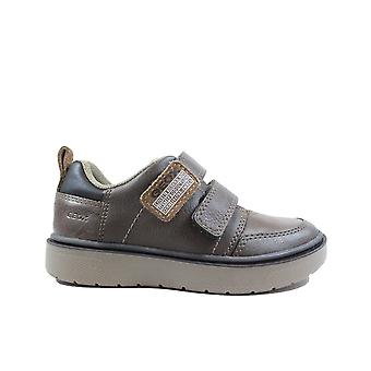 Geox Riddock J947SE Brown Leather Boys Rip Tape Trainers