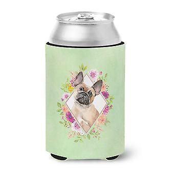 Fawn French Bulldog Green Flowers Can or Bottle Hugger