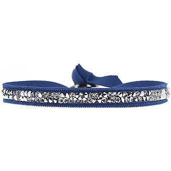 Bracelet Les Interchangeables A24959 - Bracelet Tissu Bleu Cristaux Swarovski Femme