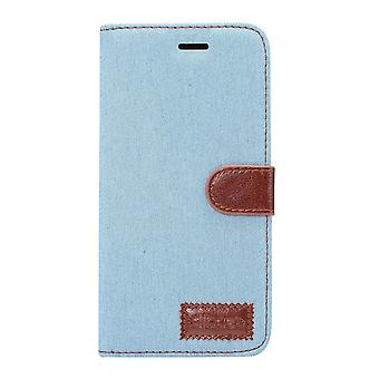 For Samsung Galaxy S9 PLUS Wallet Case,Denim Textured Protective Cover,Baby Blue