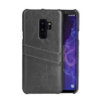 For Samsung Galaxy S9+ PLUS Grey Deluxe Leather Back Wallet Case,Slots Case