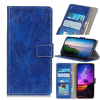 Retro Wild Horse Texture Folio Leather Case for iPhone 11 Pro,Holder,Card Slots,Photo Frame,Wallet,Blue