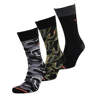 Superdry City Sock 3 Pack Black Green Camo Mix A15