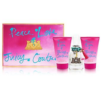 Amor de paz e Juicy couture por alta costura suculenta para mulheres 3 conjunto de peças inclui: 1,7 oz eau de parfum spray + 4,2 oz loção corporal + 4,2 oz gel de chuveiro