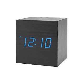 Digital Alarm Clock, Square - Black with Blue Numbers