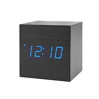 Relógio de Alarme Digital, Quadrado - Preto com Números Azuis