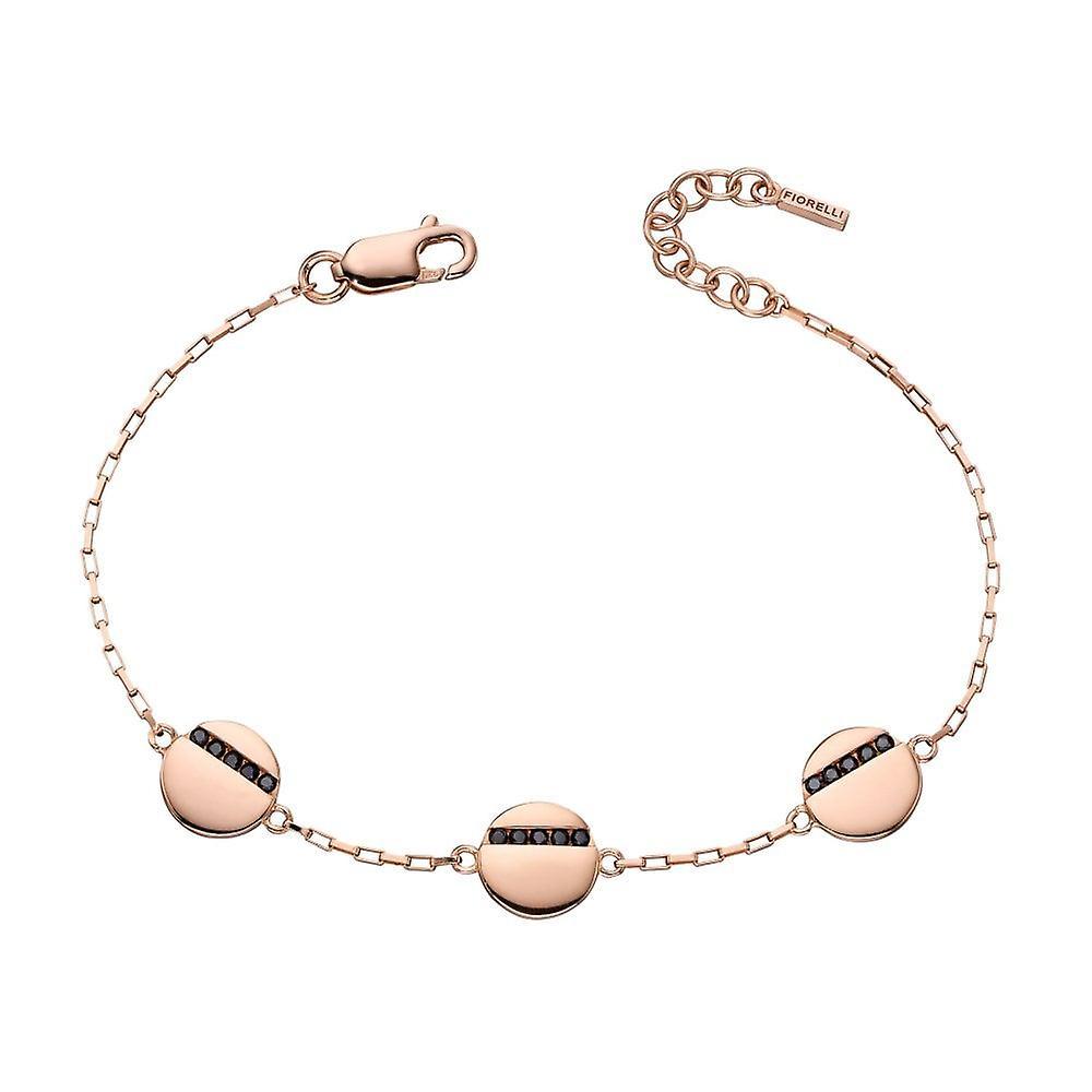 Fiorelli Rose Gold Plated & Black Cz Round Stationary Bracelet