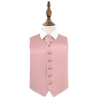 Dusty Pink Plain Satin Wedding vest & Cravat Set voor Jongens