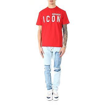 Dsquared2 S79gc0001s23009307 Men's Red Cotton T-shirt