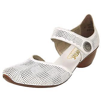 Rieker Leer Mary Jane Low Heel Shoes 43767-80 Wit