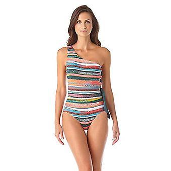 Anne Cole Women's Shoulder One Piece Swimsuit, Sand, Sand Stripe, Size 16.0