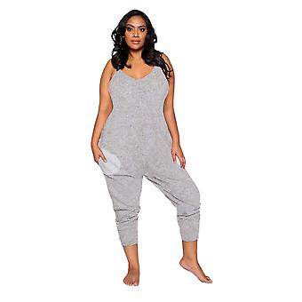 Womens Plus Size Comfy and Cozy Pajama Jumpsuit Pockets Sleepwear Loungewear