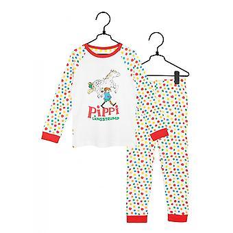 Pippi Langkous Gespot Pyjama's, Wit, Martinex