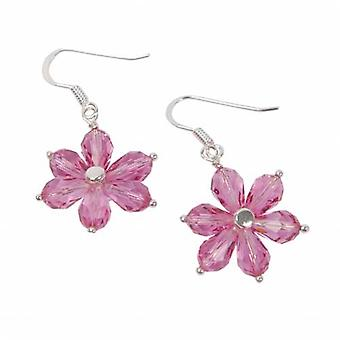 Toc Sterling Silver Flower Drop Earrings with Pink Swarovski Crystals