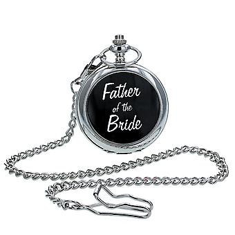 """Boxx Silver Tone """"Father Of The Bride""""  White Dial Pocket Watch & Chain BOXX231"""