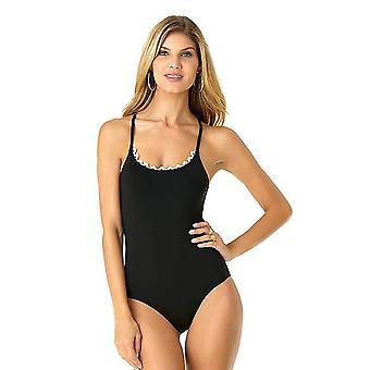 Anne Cole Mujeres's Encaje hasta lencería Maillot un traje de baño de una pieza, negro, tamaño 10.0