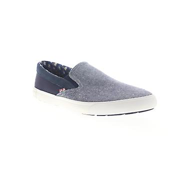 Ben Sherman Percy Slip On  Mens Blue Canvas Sneakers Shoes