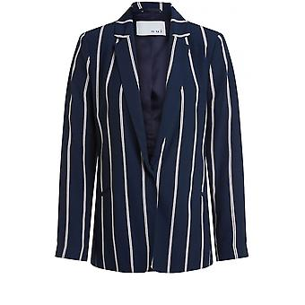 Oui Navy Striped Tailored Jacket