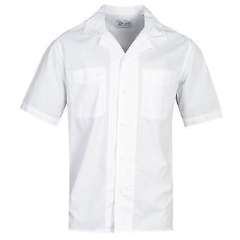 Albam Revire Kragen weiß Kurzarm Shirt