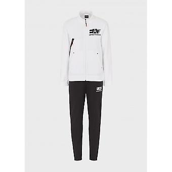EA7 by Emporio Armani Funnel Neck White/black Cotton Tracksuit